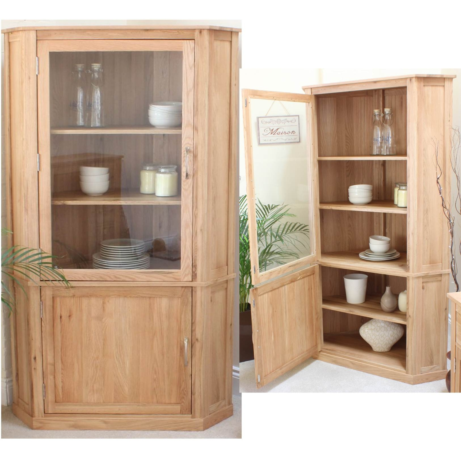 solid oak furniture corner display cabinet dining room cupboard ebay