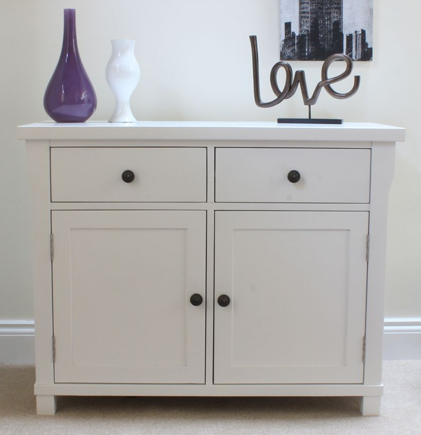 New England Solid White Painted Furniture Small Sideboard Cupboard Ebay