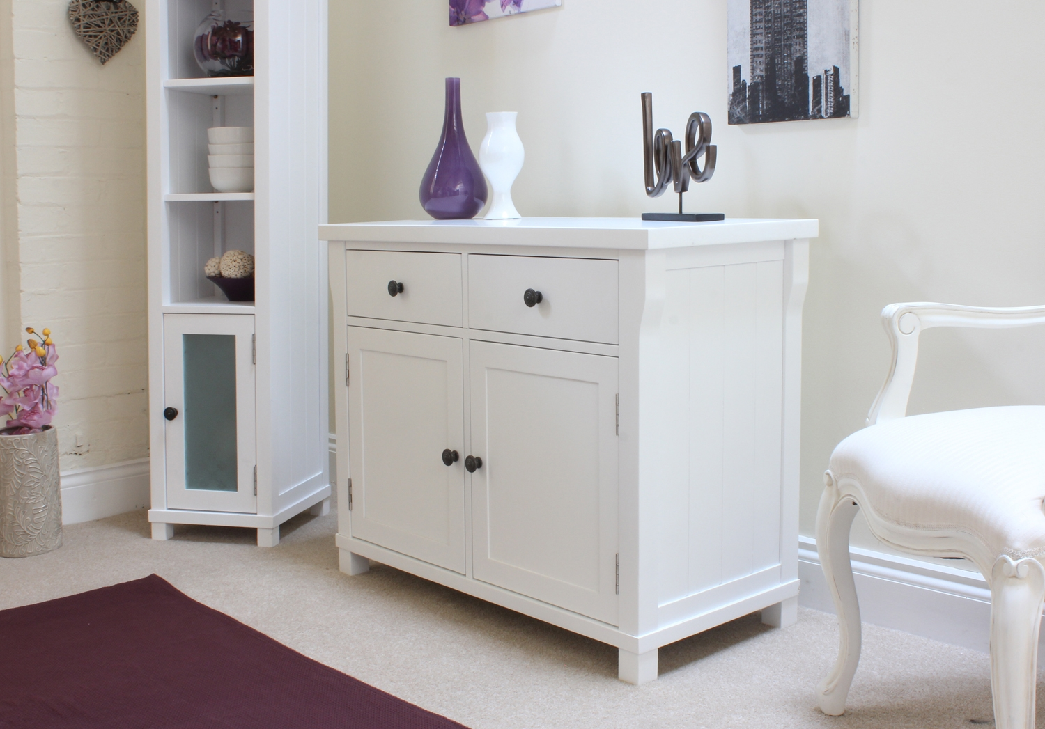 New england solid white painted furniture small sideboard for New england furniture