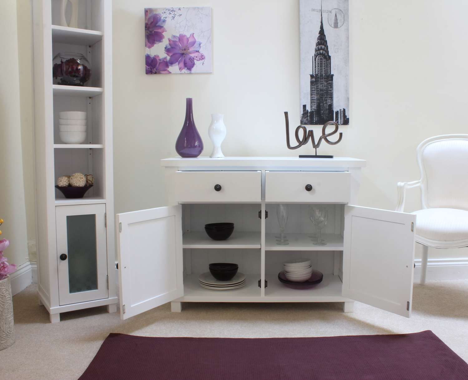 New England Solid White Painted Furniture Small Sideboard