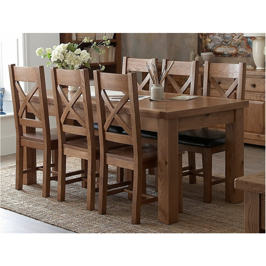 oak furniture extending dining table and six dining chairs set ebay