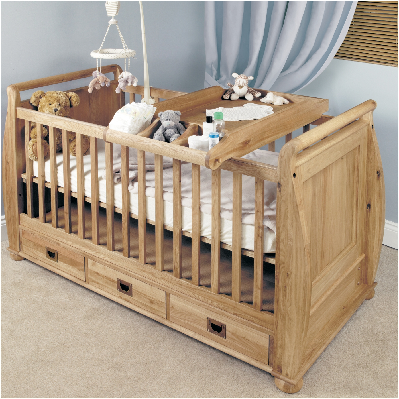 Jayden childrens bedroom furniture oak baby cot bed and changer Wooden childrens furniture
