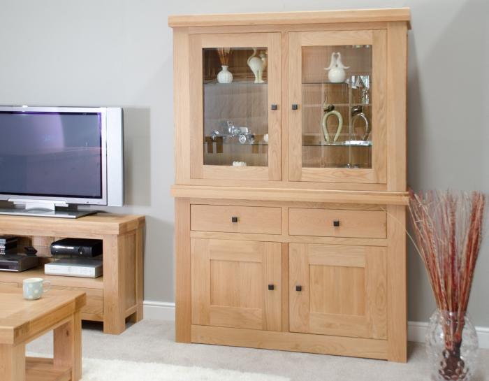 Houston Solid Oak Dining Room Furniture Dresser Display Cabinet