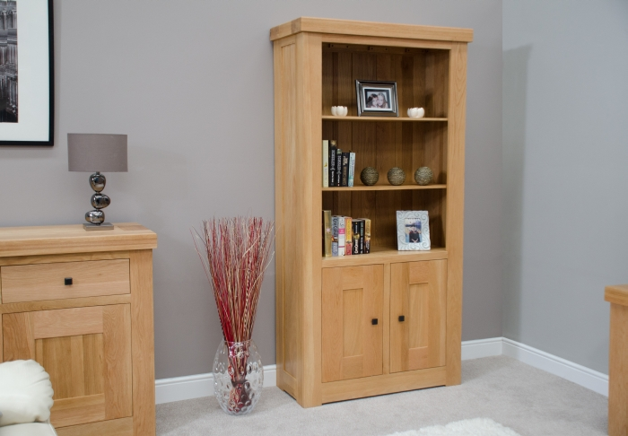 Description Houston Solid Oak Furniture Living Room Office Cupboard Bookcase