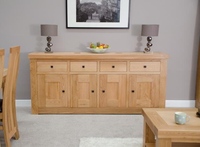 Houston Solid Oak Furniture 4 Door 4 Drawer Extra Large Sideboard Ebay