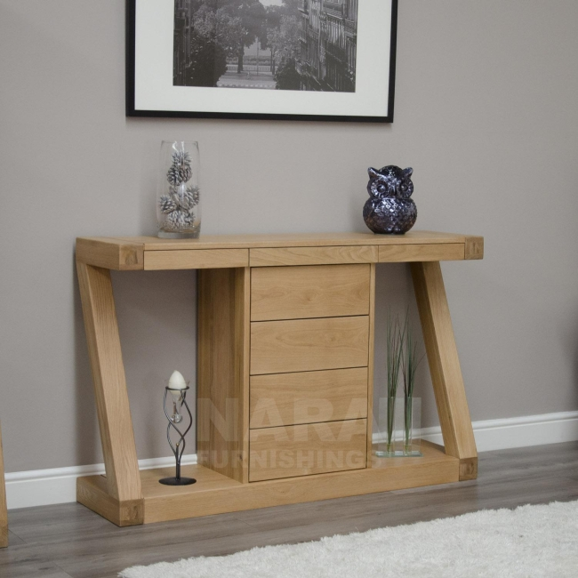 Description Zaria Solid Oak Designer Furniture Hall Console Hallway Table