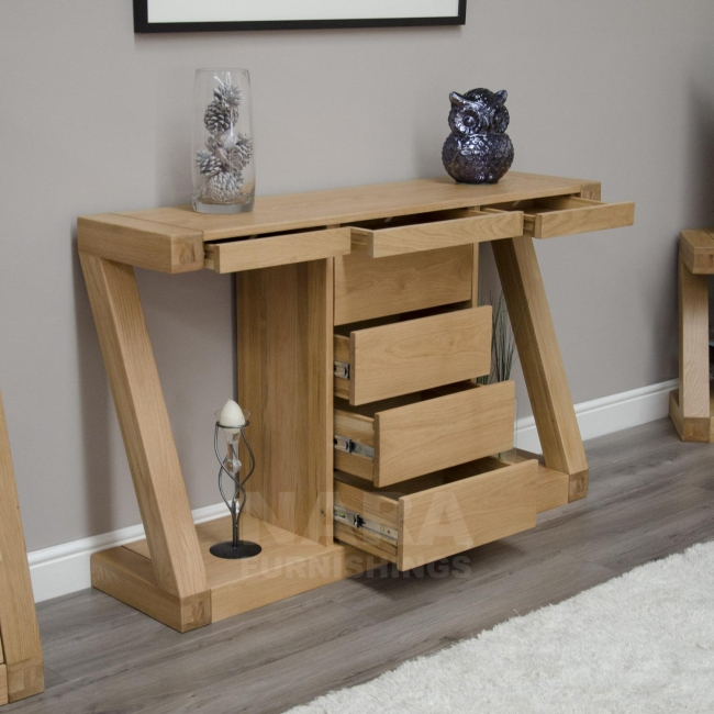 Zaria Solid Oak Designer Furniture Hall Console Hallway Table With Drawers