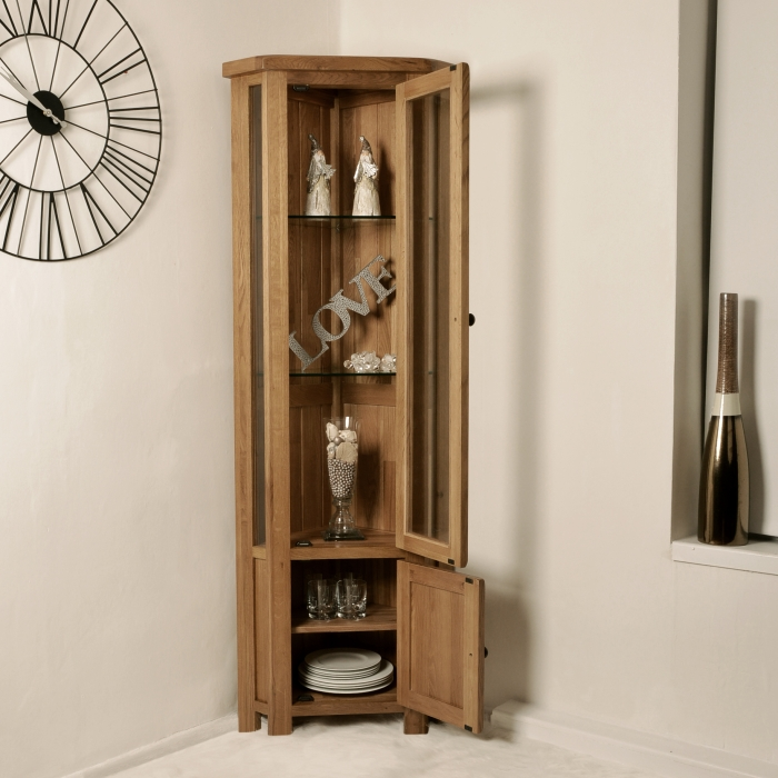 Solid Rustic Oak Corner Display Cabinet Glazed Cupboard