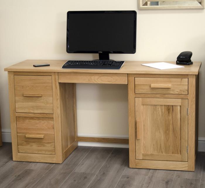 scribed oak effect home arden solid oak large computer pc laptop desk home office study furniture ebay