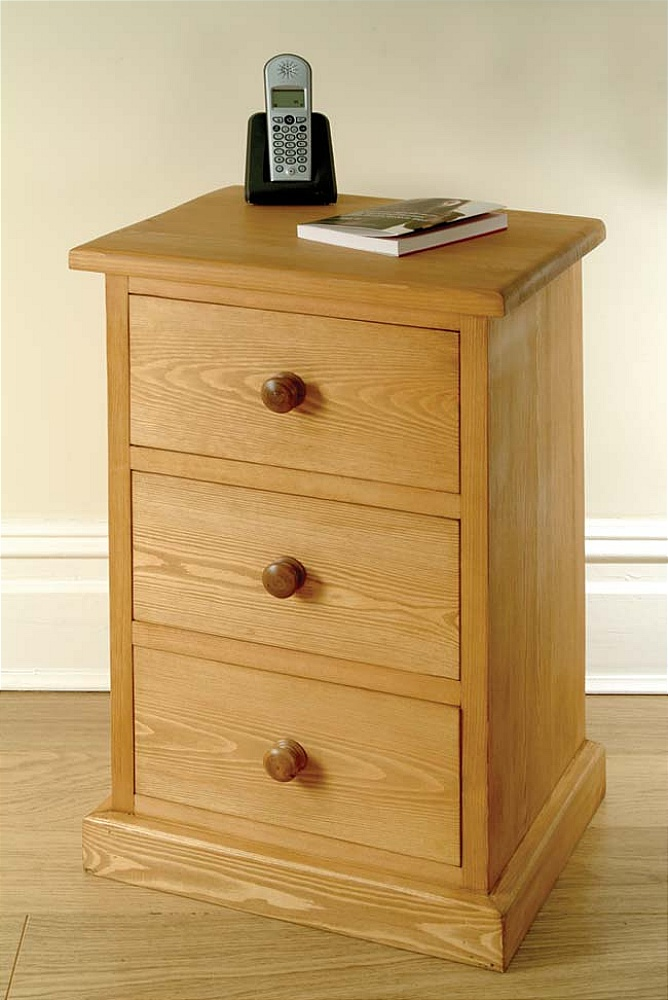 Description Solid Waxed Pine Bedside Table