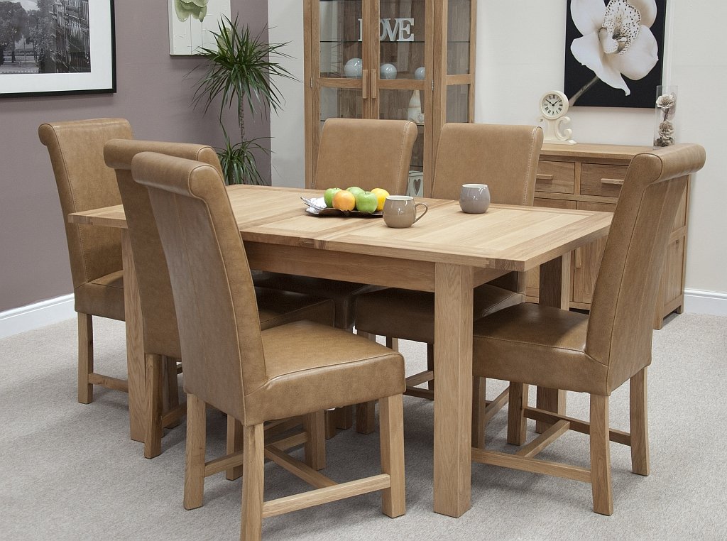 Contemporary Oak Dining Tables Extendable: Windsor Solid Contemporary Oak Furniture Extending Dining