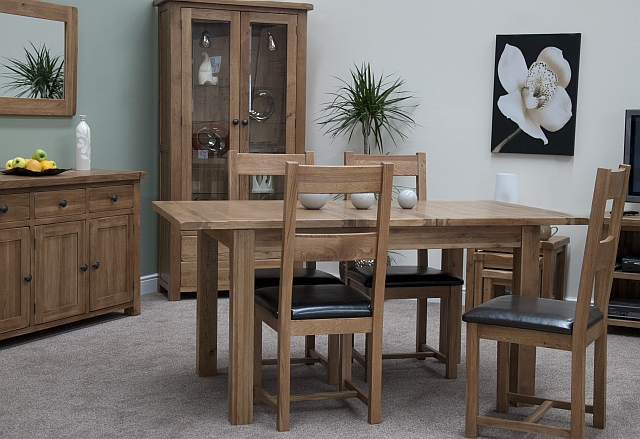 Brooklyn Solid Oak Furniture Extending Dining Table And