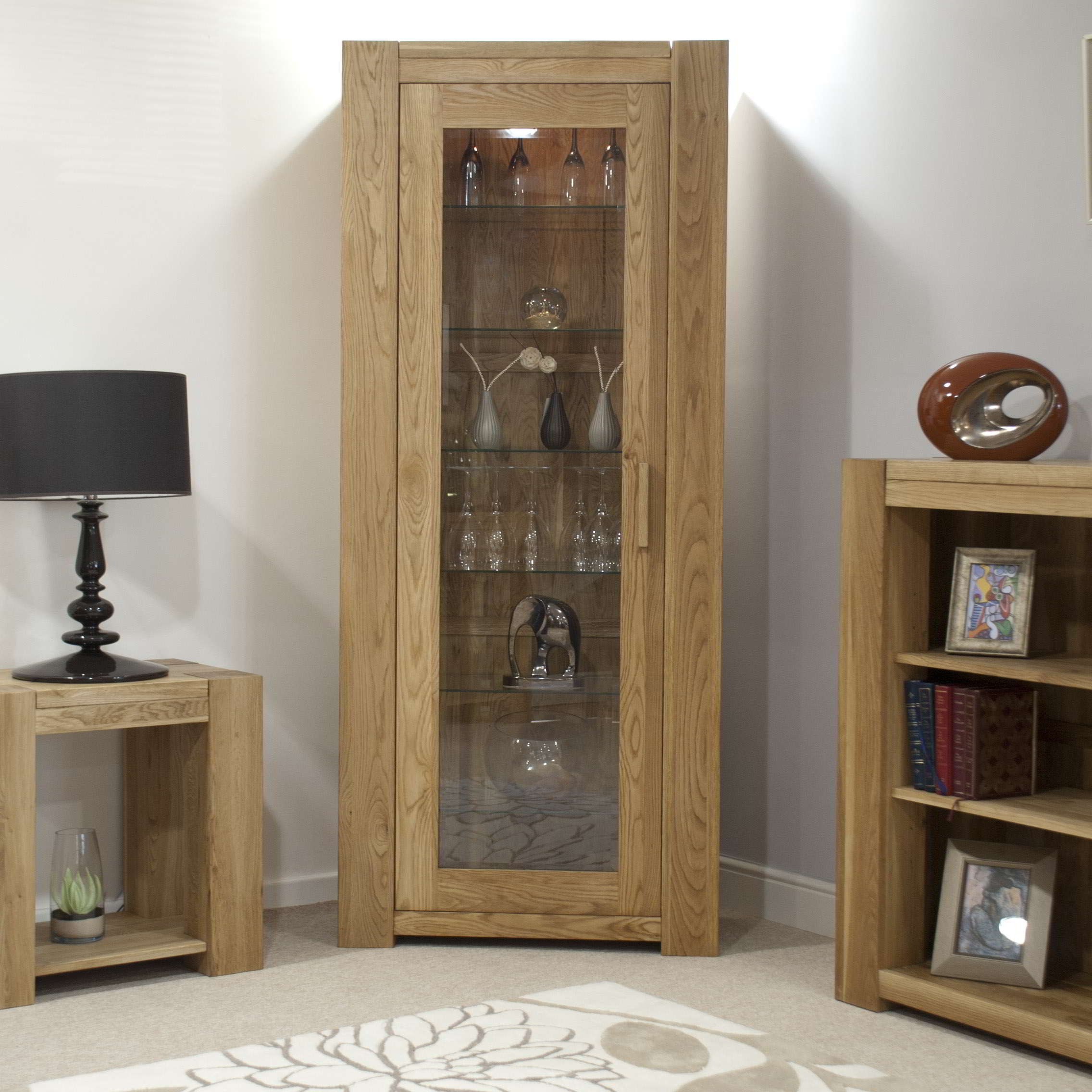 Padova Solid Oak Furniture Glazed Door Bookcase Display Cabinet Ebay