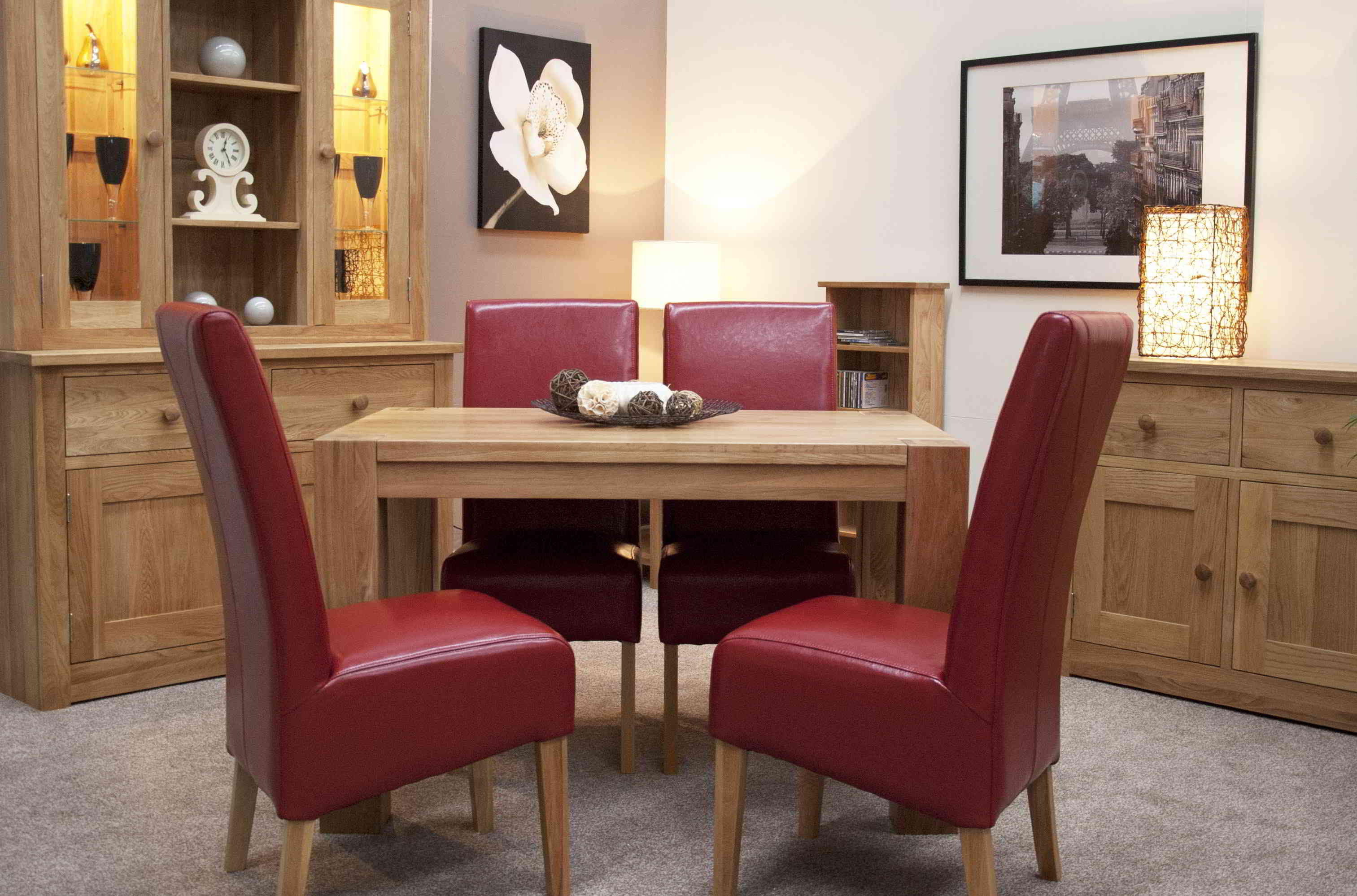 Padova solid oak furniture small dining table and four red leather chairs set