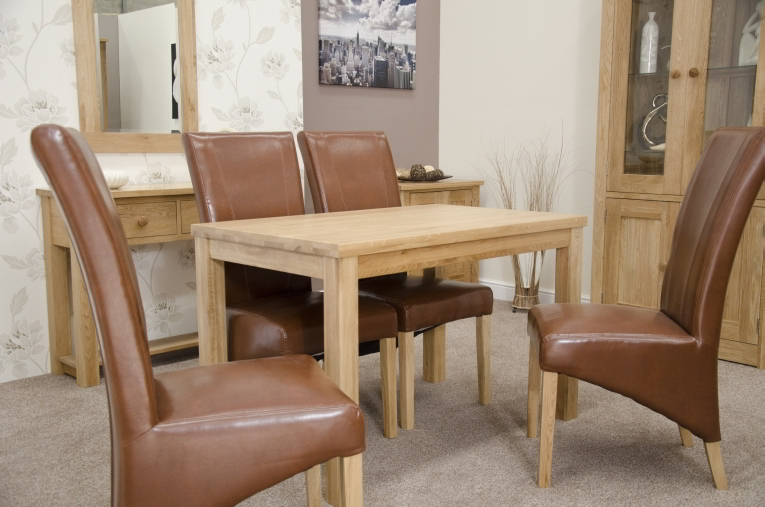 Munira Solid Oak Furniture Dining Table And Four Tan Leather Chairs Set