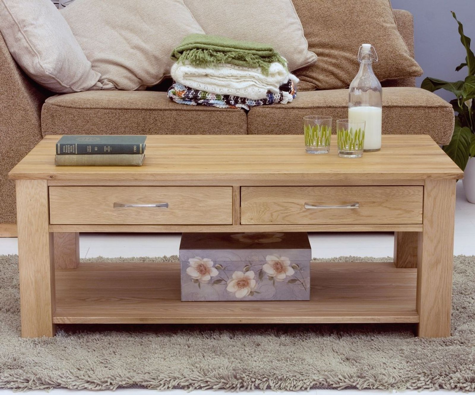 details about mobel solid oak living room furniture four drawer coffee table and felt pads