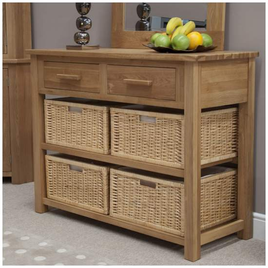Nero Solid Oak Furniture Basket Hall Console Table With