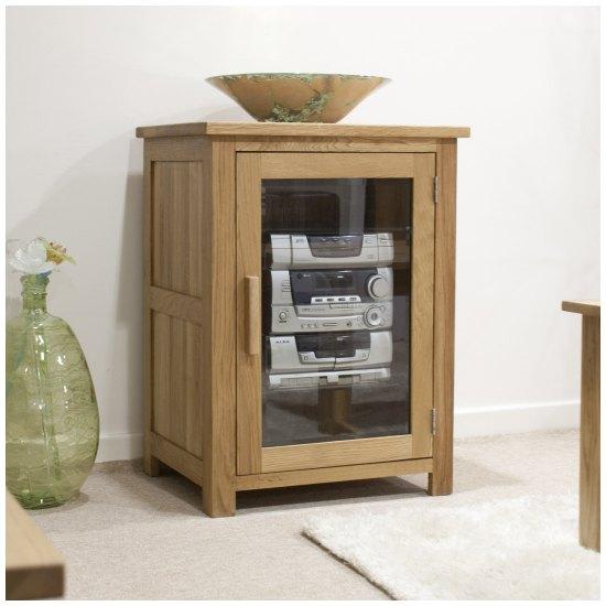 Nero solid oak furniture hi-fi storage cabinet unit with felt pads ...