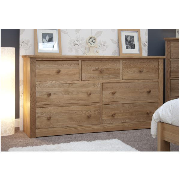 Mardale Solid Oak Bedroom Furniture Deep Wide Chest Of Drawers