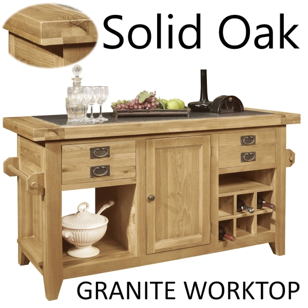 oak kitchen island with granite top lyon solid oak furniture large granite top kitchen island 27309