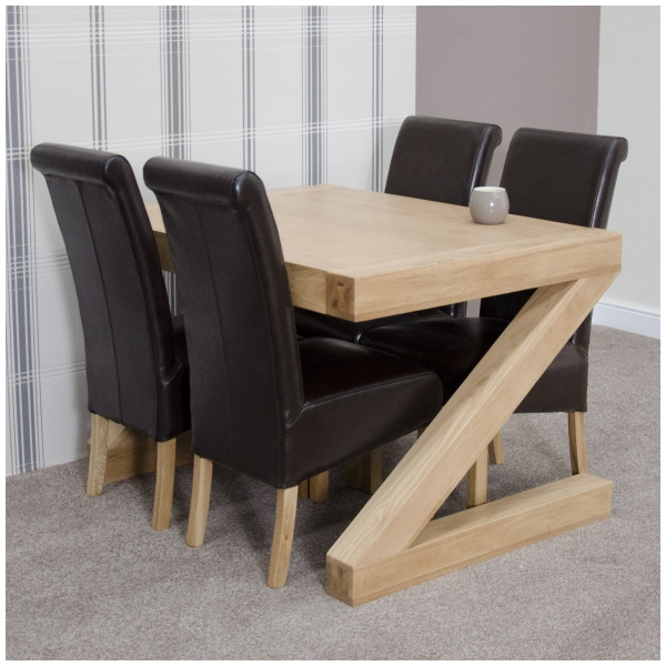 Charming Enjoy A Lovely Home Cooked Meal On This Beautiful Solid Oak Z Shaped Dining  Table Whilst Sitting On These Stunning Leather Dining Chairs Built To The  ...