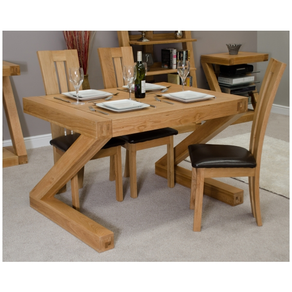 Zouk Solid Oak Designer Furniture Small Chunky Dining Room