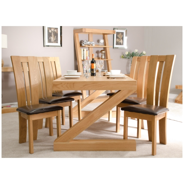 Zouk Solid Oak Designer Furniture Large Chunky Dining Room Table