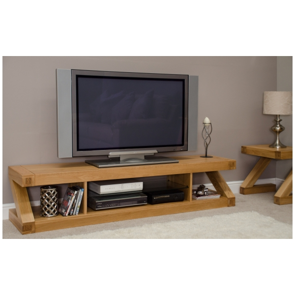 Zouk Solid Oak Designer Furniture Large Widescreen TV Cabinet Stand Unit