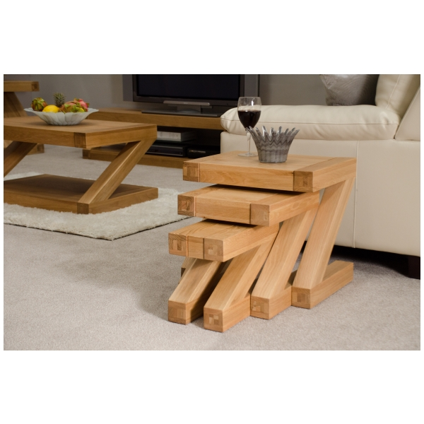 Zouk Solid Oak Designer Furniture Nest Of Three Coffee Tables