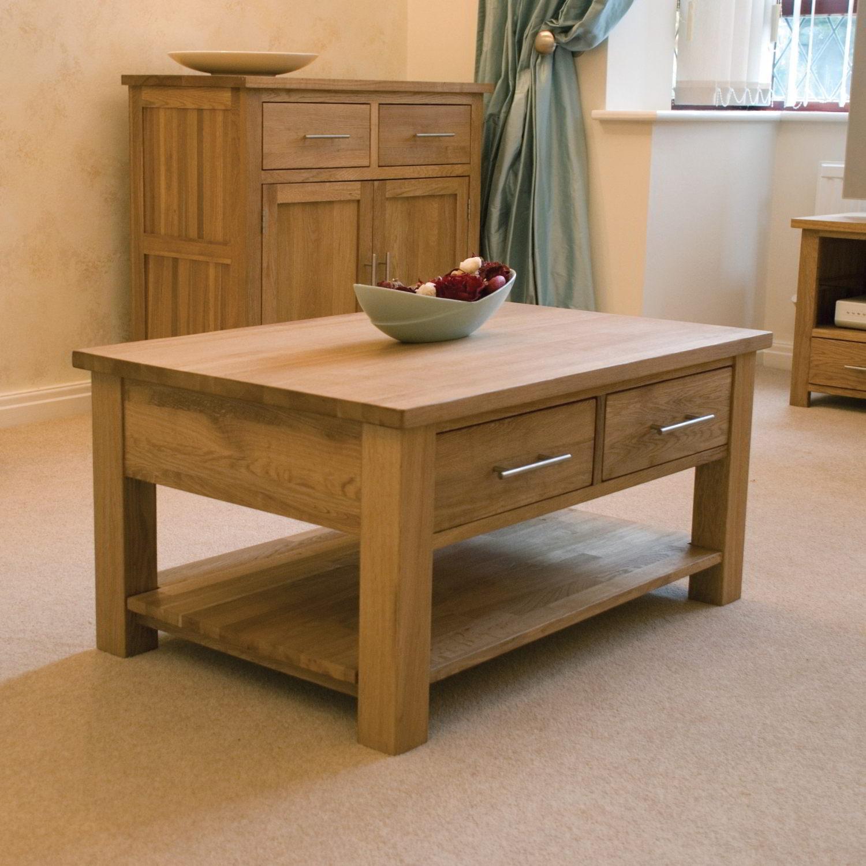 Eton Solid Oak Living Room Lounge Furniture Storage Coffee Table
