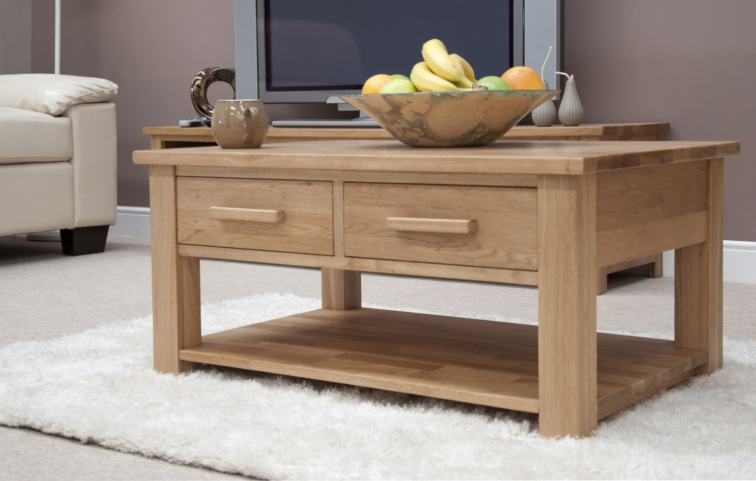 Eton Solid Oak Living Room Lounge Furniture Storage Coffee Table With Drawers Ebay