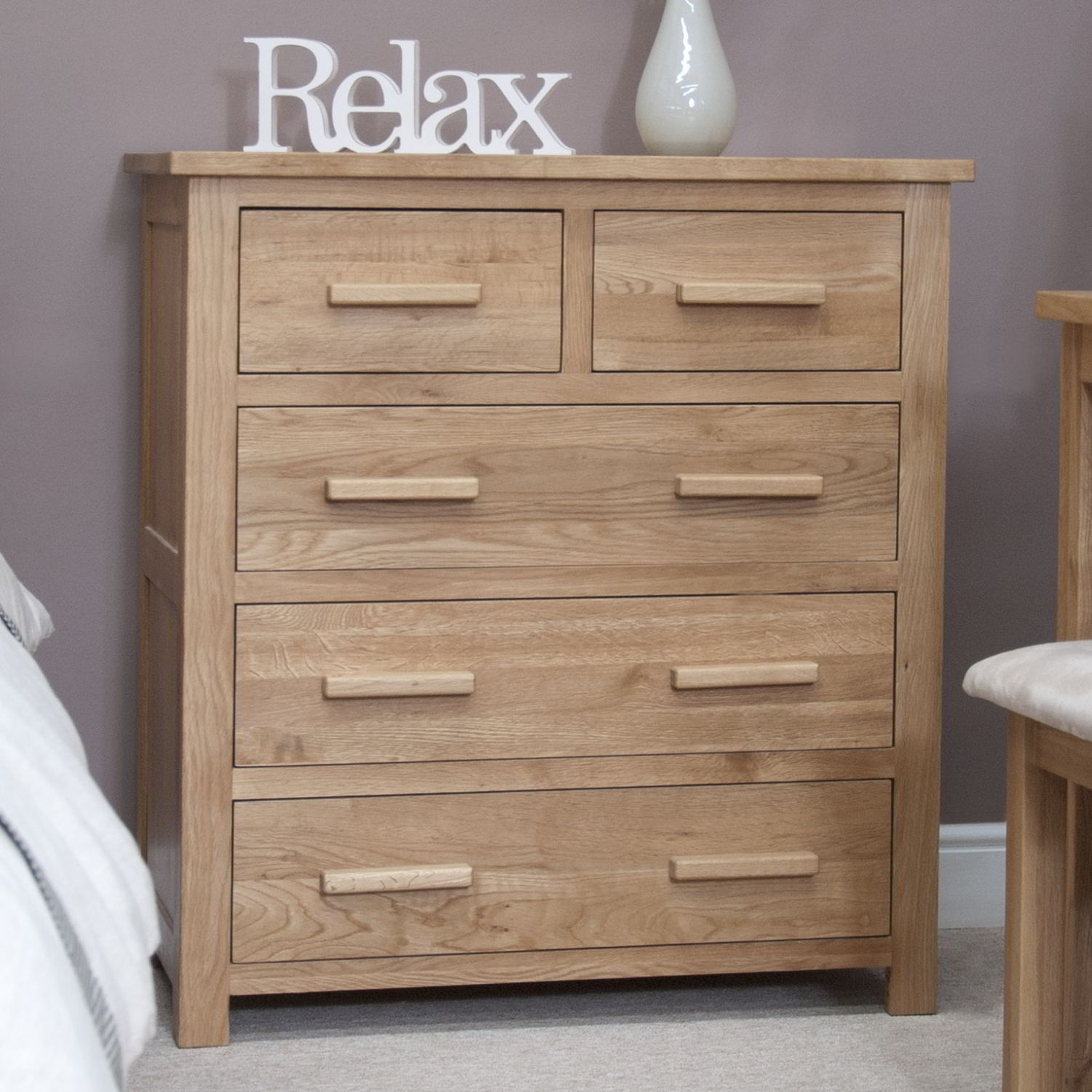 Eton Solid Modern Oak Furniture 2 Over 3 Bedroom Chest Of