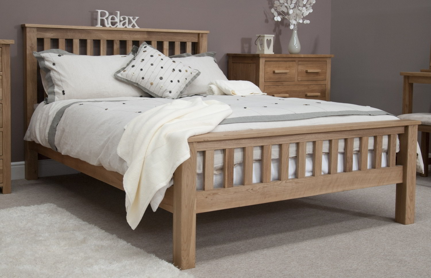 Details about Eton solid contemporary oak bedroom furniture 4\'6 double rail  end bed