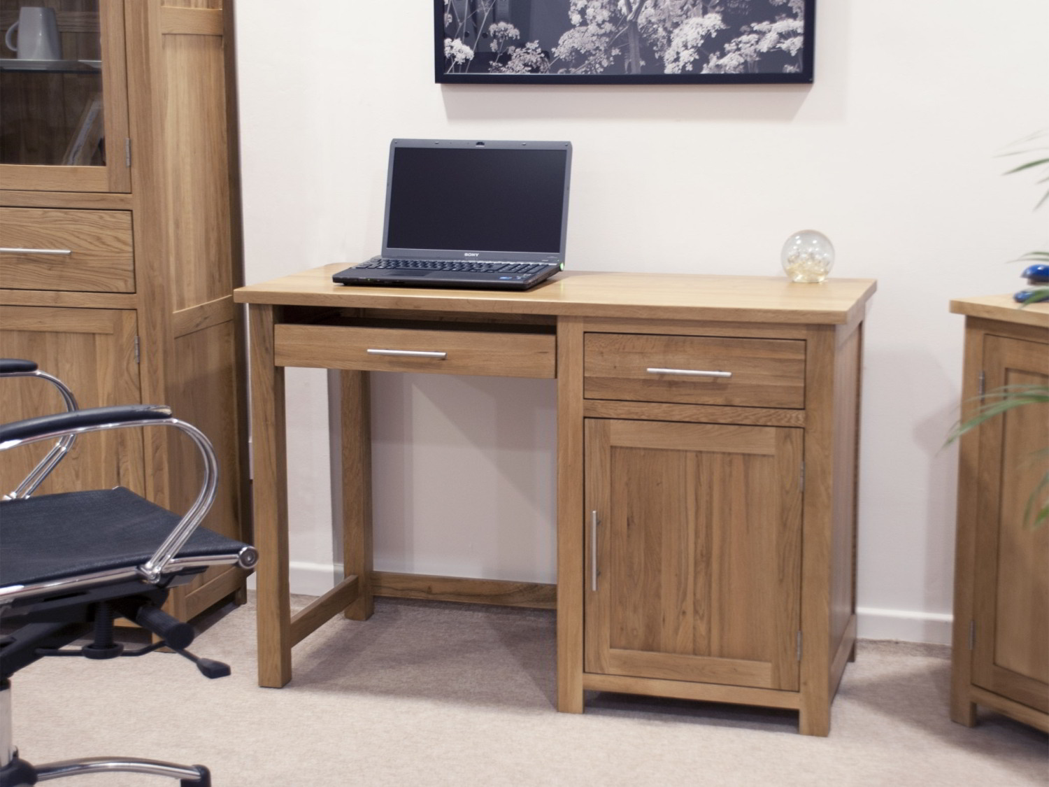 Eton Solid Oak Modern Furniture Small Office Pc Computer Desk