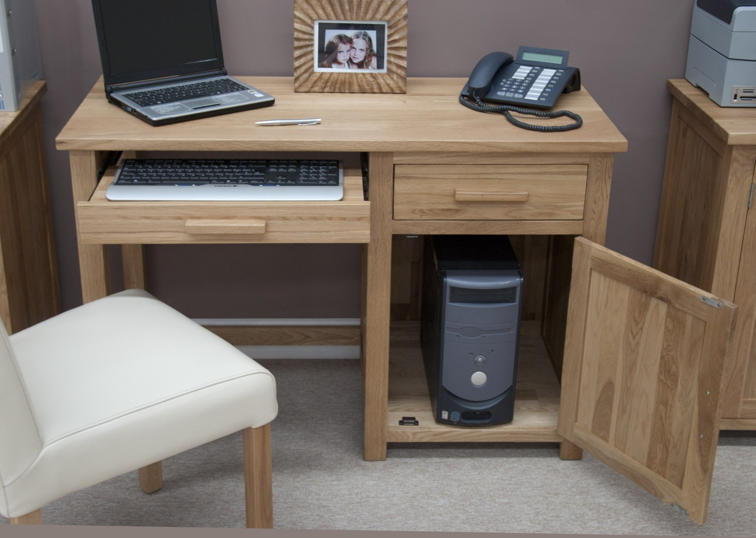 Details About Eton Solid Oak Modern Furniture Small Office PC Computer Desk