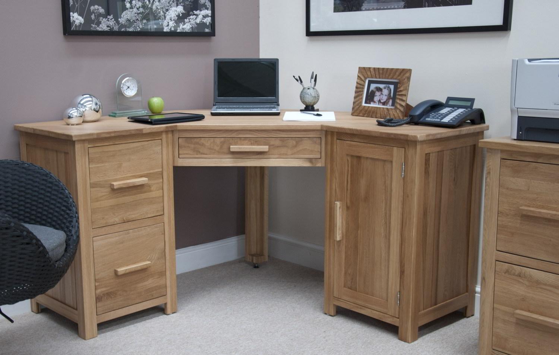 Details About Eton Solid Oak Modern Furniture Office Pc Corner Computer Desk