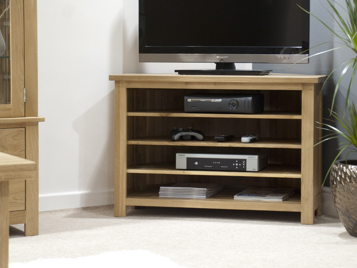 Eton Solid Oak Living Room Furniture Corner Television