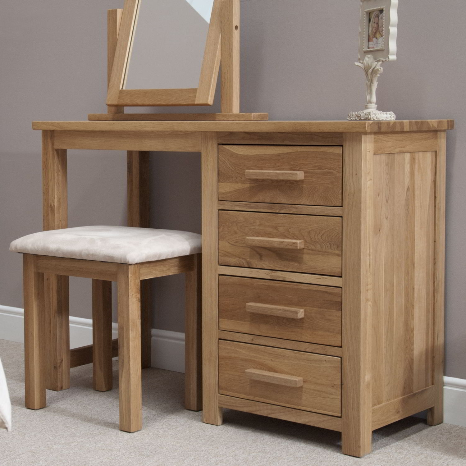 Bedroom furniture dressing table - Eton Solid Oak Contemporary Bedroom Furniture Dressing Table With Stool