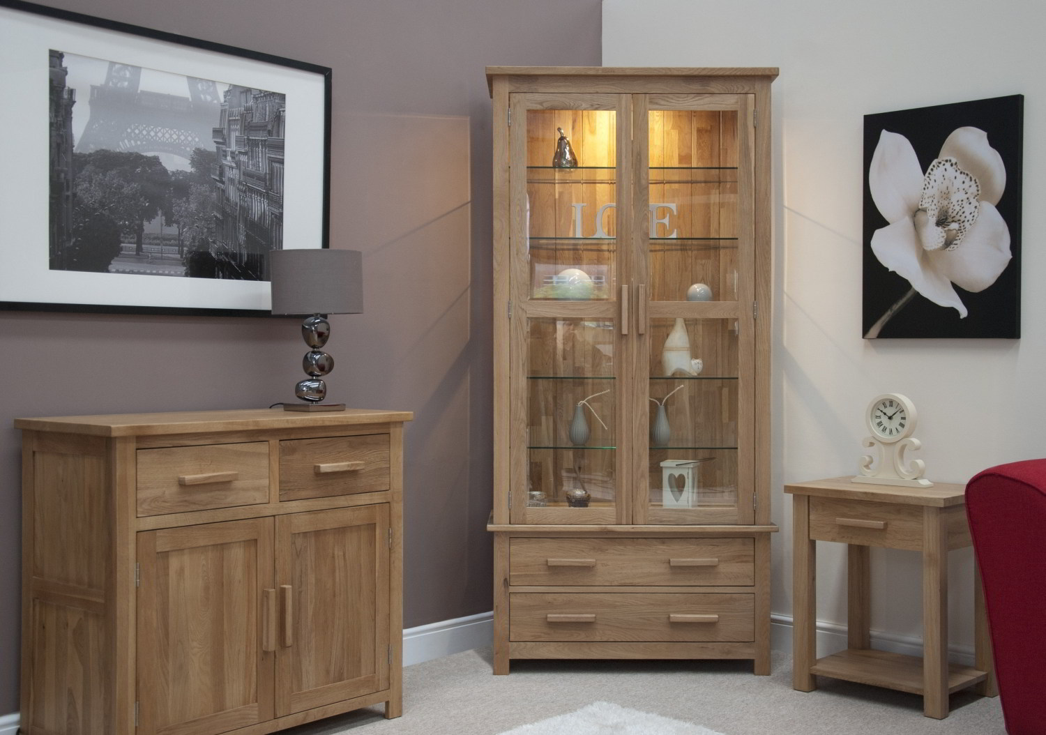 Details About Eton Solid Oak Living Room Furniture Glazed Display Cabinet Cupboard