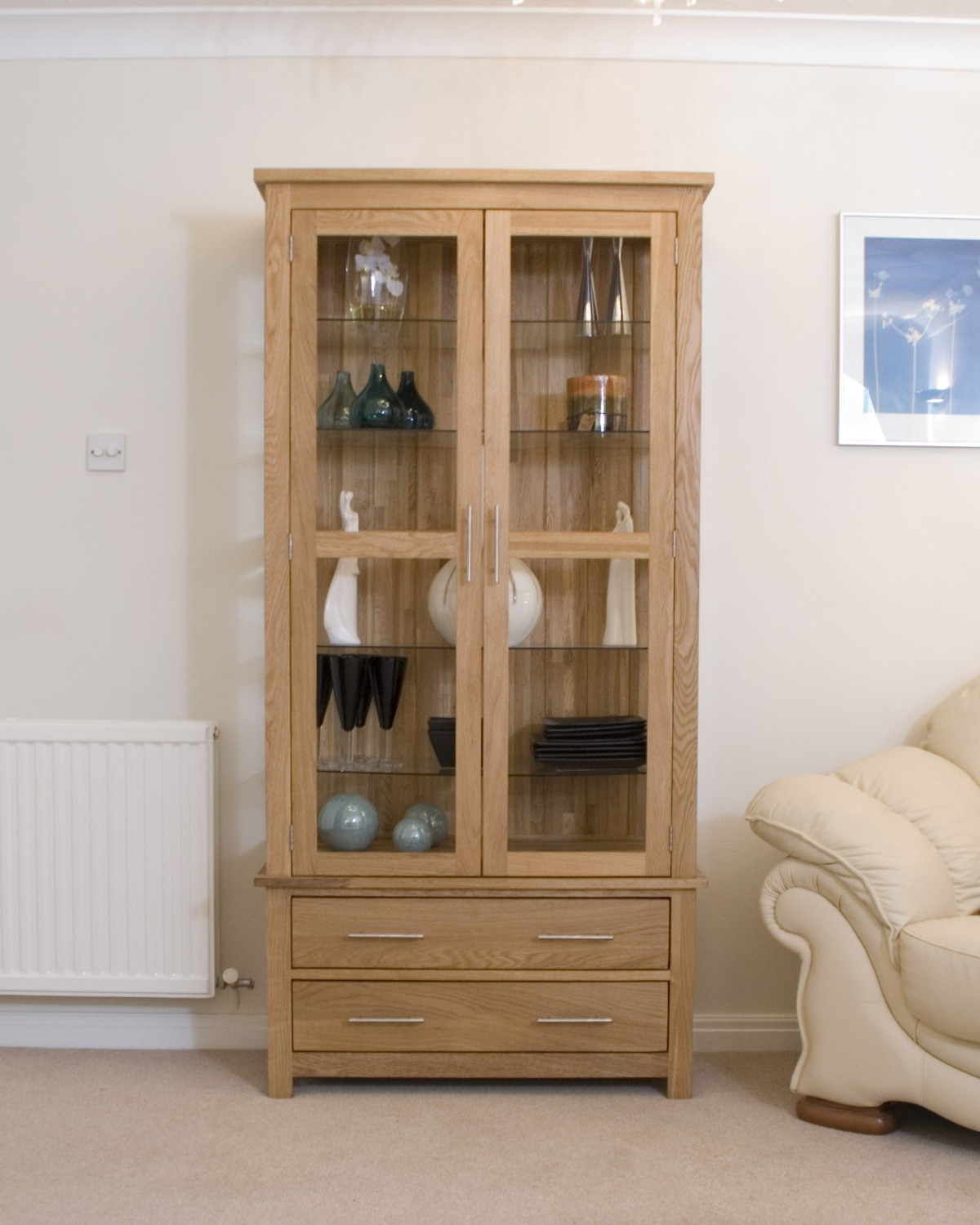 Eton solid oak living room furniture glazed display for Cupboard cabinet