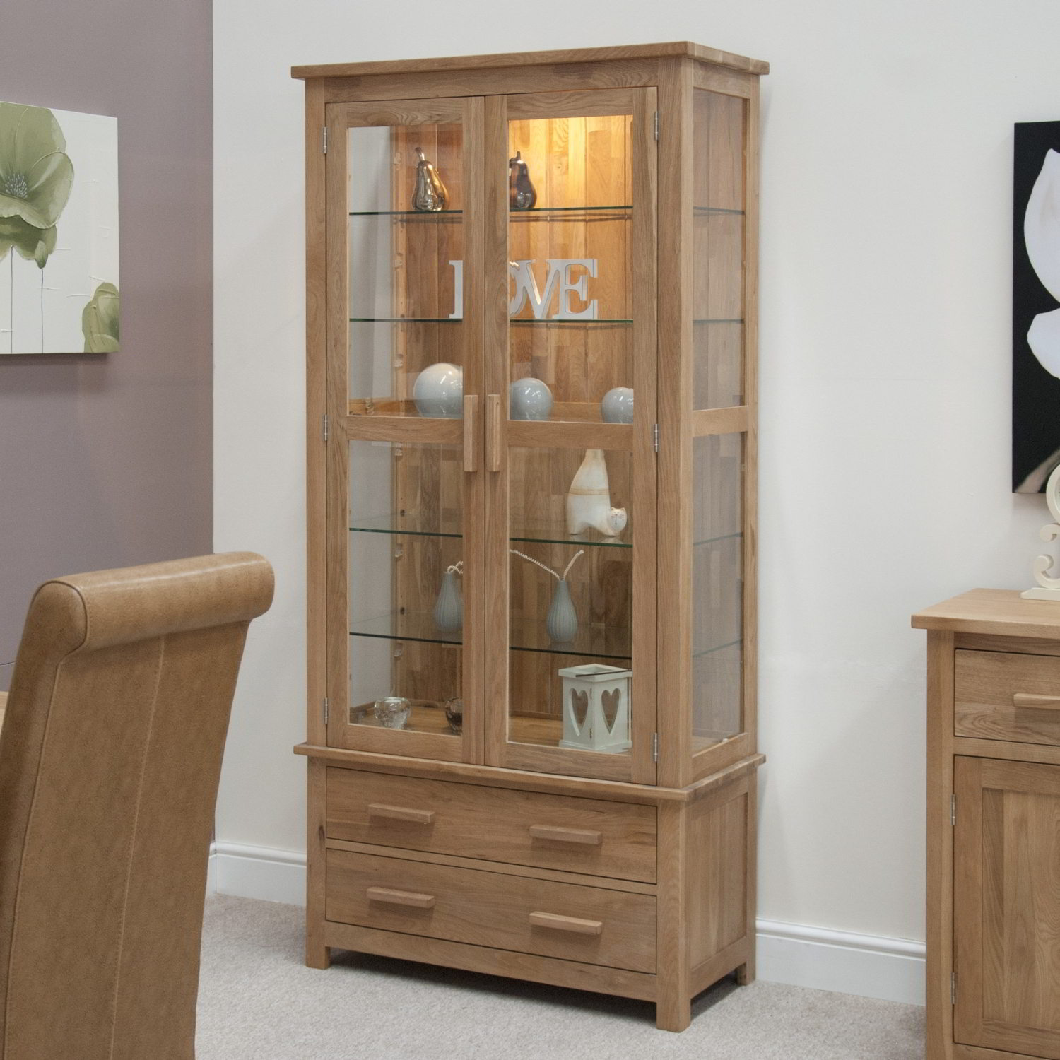 Eton solid oak living room furniture glazed display for Cupboards and cabinets