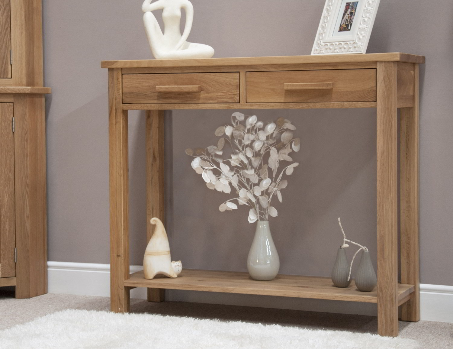 Eton solid oak modern furniture hallway hall console table for Small console tables contemporary