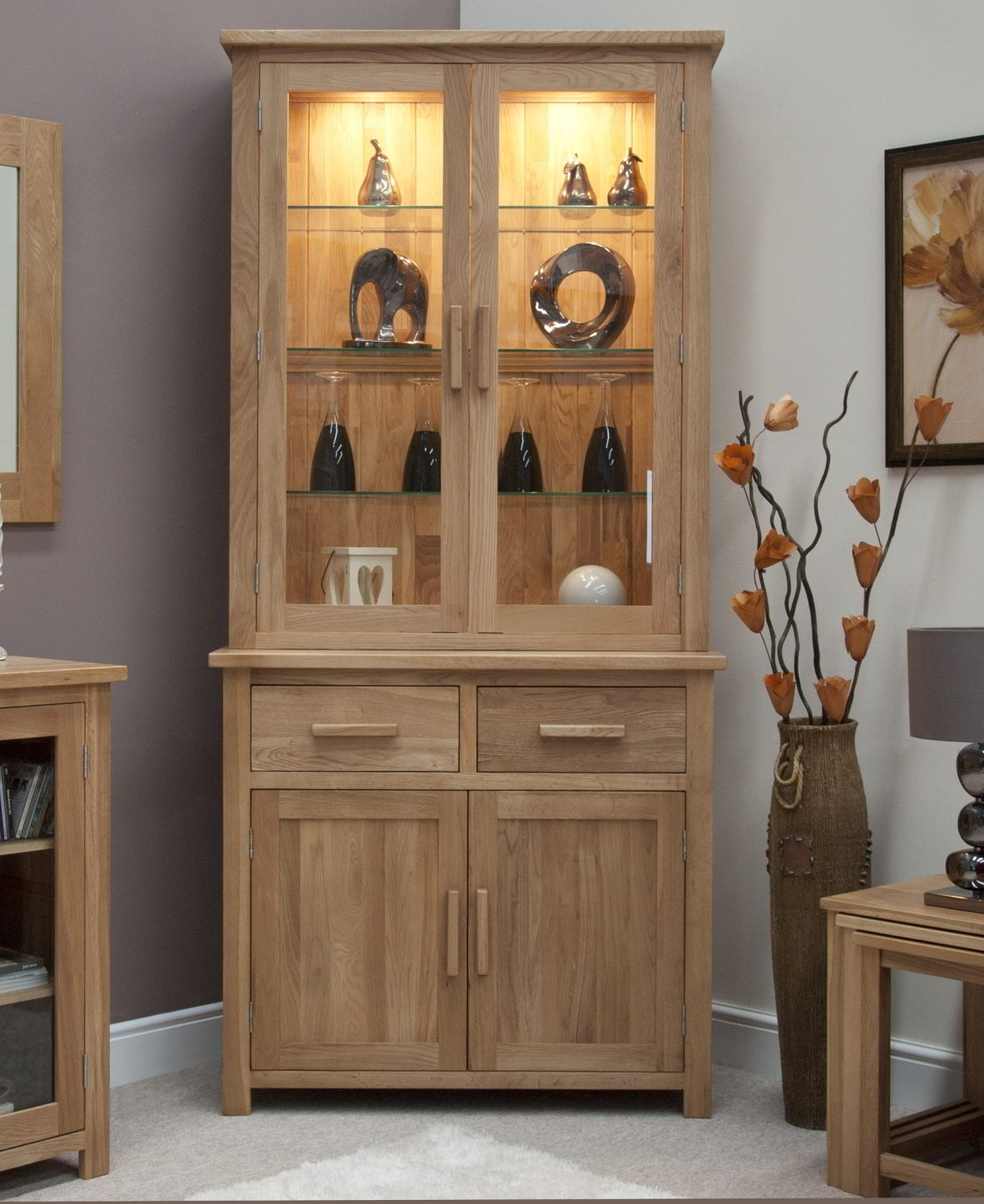 Details About Eton Solid Oak Living Dining Room Furniture Small Dresser Display Cabinet