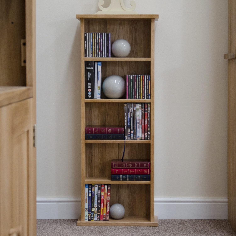 Details about eton solid oak modern furniture cd dvd storage tower rack