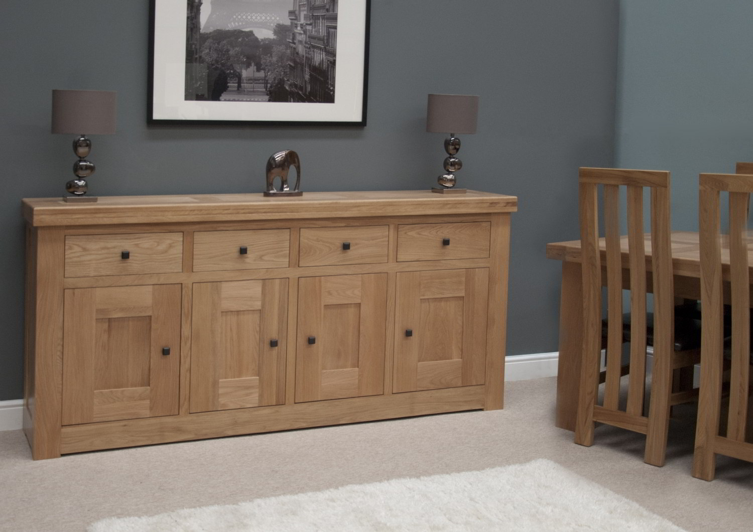 Belgrave solid premium oak dining room furniture extra large storage sideboard eBay