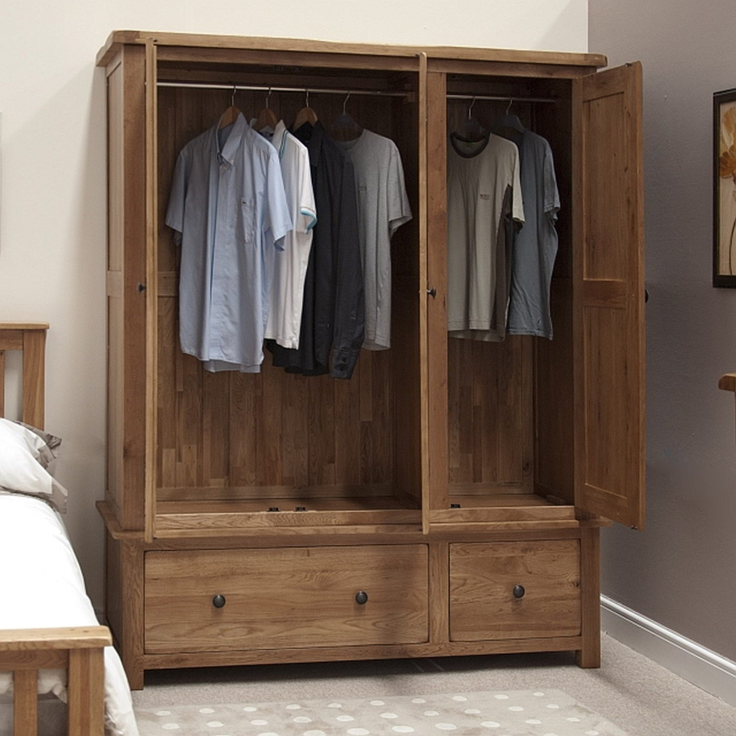 tilson solid oak bedroom furniture large triple wardrobe. Black Bedroom Furniture Sets. Home Design Ideas
