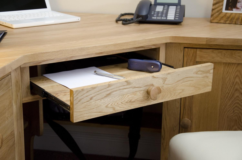 Kingston Solid Modern Oak Furniture Office Corner Pc
