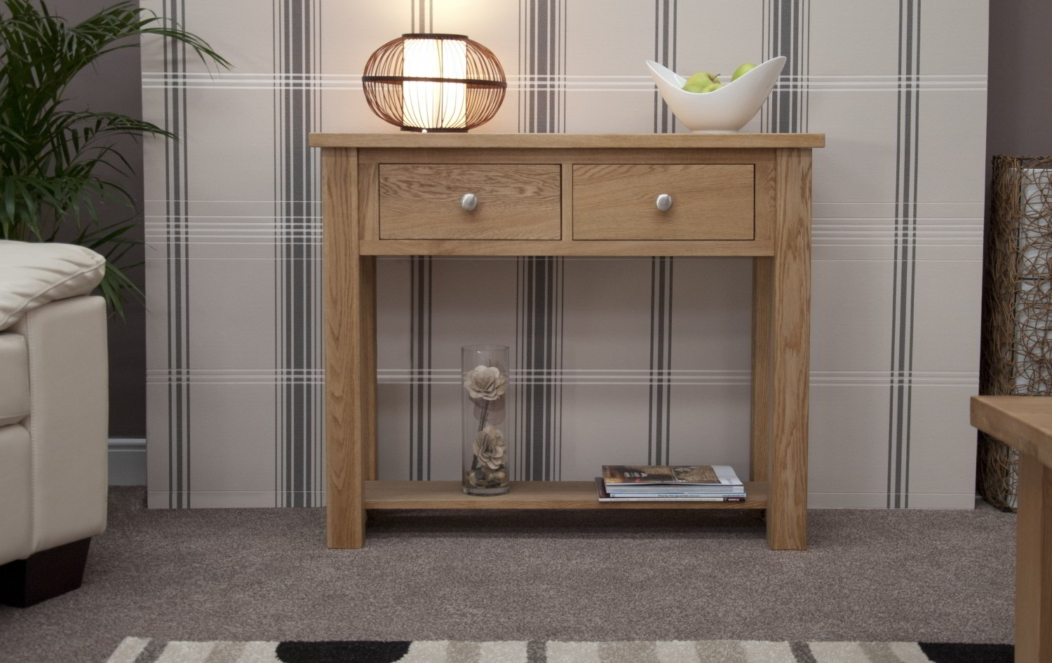Kingston solid oak hallway furniture small console hall table ebay for Images of couch for hall rennes