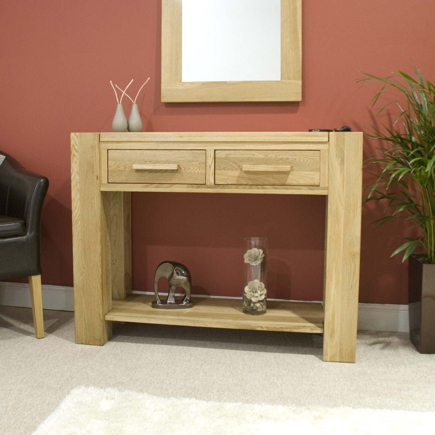 Pemberton Solid Modern Oak Hallway Furniture Console Hall Table