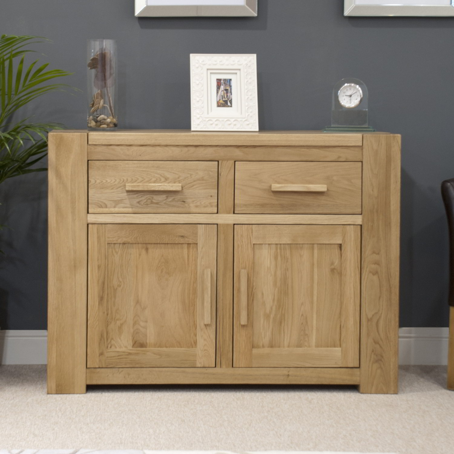 Pemberton solid oak living room furniture medium storage sideboard ...